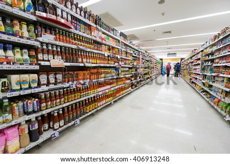 Chiangmai, Thailand - JUNE 3: BigC supermarket interior view on June 3th 2015 in Chiangmai. BigC is a large supermarket chain in Thailand. - stock photo