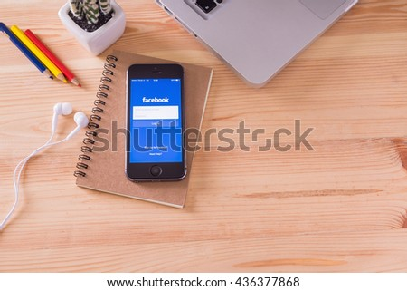 CHIANGMAI, THAILAND -June 11, 2016: Facebook is an online social networking service founded in February 2004 by Mark Zuckerberg with his college roommates and is now a fortune 500 company. - stock photo