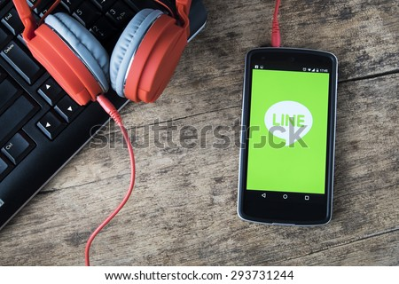 CHIANGMAI, THAILAND -JUNE 5, 2015:LG Nexus5 opened to LINE Massager application. LINE Massager is a communication app that allows you to make free voice calls and send free messagesâ?¨
