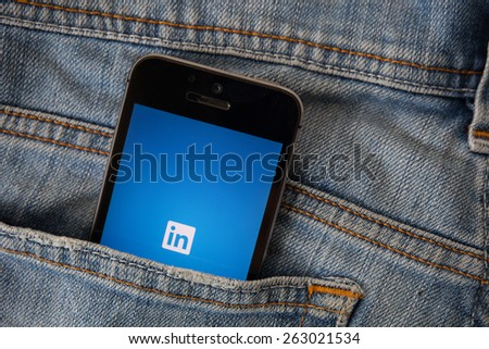 CHIANGMAI, THAILAND - MARCH 23, 2015: Linkedin is a social networking website for people in professional occupations. As of June 2013 more than 259 million users in more than 200 countries. - stock photo