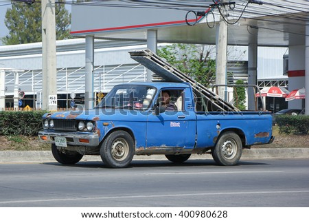 CHIANGMAI, THAILAND -MARCH 1 2016:  Private Isuzu Old Pickup car. On road no.1001, 8 km from Chiangmai city.