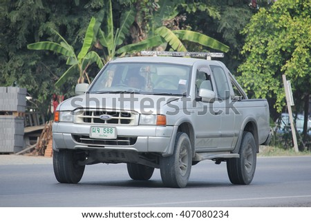 CHIANGMAI, THAILAND -MARCH 12 2016:   Private Pickup car, Ford Ranger. On road no.1001, 8 km from Chiangmai city.
