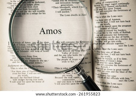 "CHIANGMAI, THAILAND, March 17,2015. Reading The New International Version of the Holy Bible on the book of "" amos "" at home. March 17,2015"