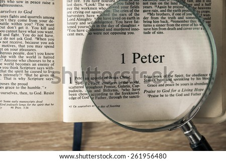 "CHIANGMAI, THAILAND, March 17,2015. Reading The New International Version of the Holy Bible on the book of "" peter "" at home. March 17,2015"