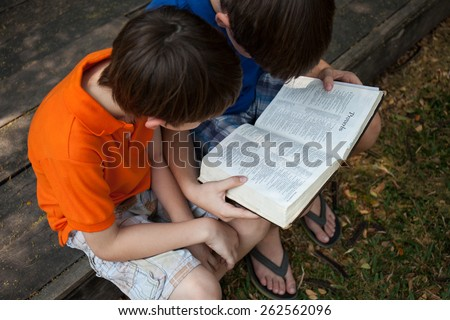 "CHIANGMAI, THAILAND, March 22,2015. Two boys are reading The New International Version of the Holy Bible on the book of "" Proverbs "" in the garden. March 22,2015"