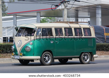CHIANGMAI, THAILAND -MARCH 8 2016:   Vintage volkswagen van. Photo at road no.121 about 8 km from downtown Chiangmai, thailand. - stock photo