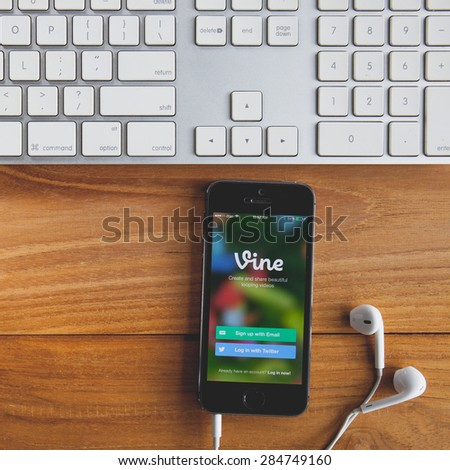 CHIANGMAI, THAILAND -MAY 19, 2015:Apple iphone  displaying Vine application. Vine is a short-form video sharing service. Founded in June 2012 - stock photo