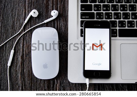 CHIANGMAI, THAILAND -MAY 22, 2015:Apple iphone 5s displaying Gmail application. - stock photo