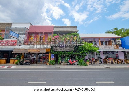 CHIANGMAI , THAILAND , MAY 28 : Beautiful shop along Thapae street , the famous shopping street in Chiangmai , Thailand on May 28 2016.