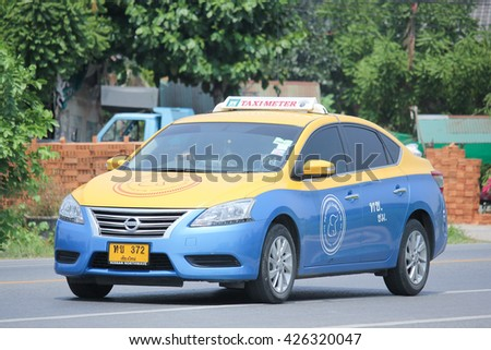 CHIANGMAI, THAILAND -MAY 3 2016: City taxi Meter chiangmai, Nissan Sylphy, Service in city. Photo at road no.1001 about 8 km from downtown Chiangmai, thailand.