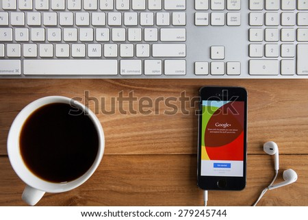 CHIANGMAI, THAILAND -MAY 19, 2015:Google+ is Google's social network service to compete with Facebook and launched in late June 2011 - stock photo