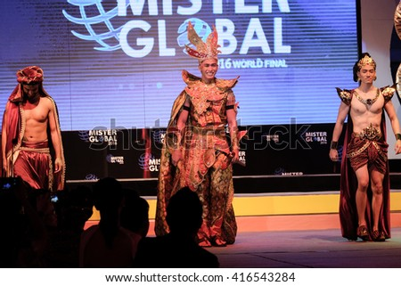 "CHIANGMAI, THAILAND - MAY 6, 2016 : ""Mister Global 2016"" men pageant running the final round competition at Chiangmai hall - Central Plaza on May 6, 2016 in Chiangmai, Thailand."
