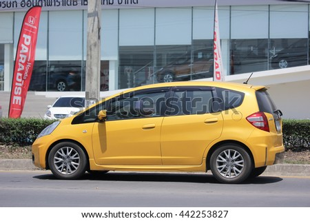 CHIANGMAI, THAILAND -MAY 28 2016: Private car, Honda Jazz. Photo at road no 121 about 8 km from downtown Chiangmai, thailand.