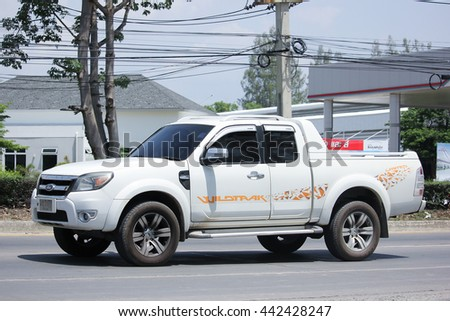 CHIANGMAI, THAILAND -MAY 28 2016:  Private Pickup car, Ford Ranger. On road no.1001, 8 km from Chiangmai city.