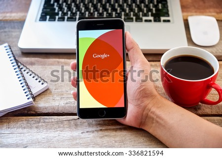 CHIANGMAI, THAILAND -NOV 09, 2015:Google+ is Google's social network service to compete with Facebook and launched in late June 2011  - stock photo