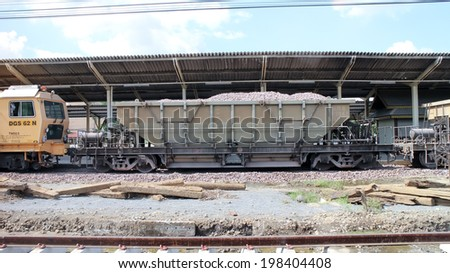 CHIANGMAI, THAILAND - NOVEMBER 15 2013: Bogie Hopper Wagon no.42041 of State railway of thailand. Photo at Chiangmai Train Station. Thailand.