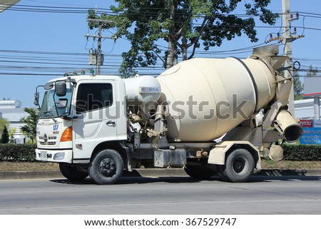 CHIANGMAI, THAILAND -NOVEMBER 22 2015:  Concrete truck of Chiangmai Concrete product company. Photo at road no.121 about 8 km from downtown Chiangmai, thailand.