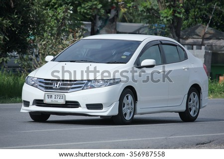 CHIANGMAI, THAILAND -NOVEMBER  3 2015:  Private City Car, Honda City. Photo at road no.121 about 8 km from downtown Chiangmai, thailand.