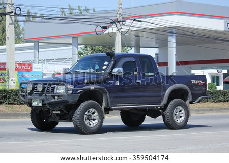CHIANGMAI, THAILAND -NOVEMBER 5 2015:   Private Toyota Pickup truck. Photo at road no 121 about 8 km from downtown Chiangmai, thailand.