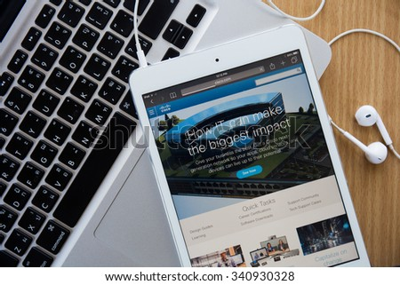 CHIANGMAI, THAILAND - November 18, 2015: The homepage of the official Cisco website on iPad - stock photo