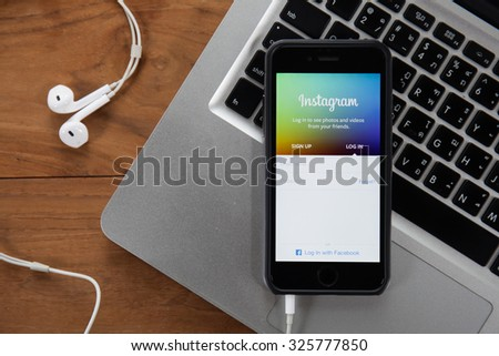 CHIANGMAI,THAILAND - OCTOBER 10, 2015:Instagram page on new iphone 5s. The photo-sharing social network, which has 150 million monthly active users - stock photo