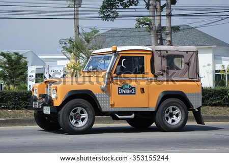 CHIANGMAI, THAILAND -OCTOBER  29 2015:  Old Private car. Land Rover mini Truck. Photo at road no.121 about 8 km from downtown Chiangmai, thailand.
