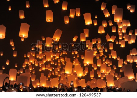 CHIANGMAI, THAILAND - OCTOBER 25:Thai people floating lamp. October 25 ,2012 in Tudongkasatarn, Chiangmai, Thailand.