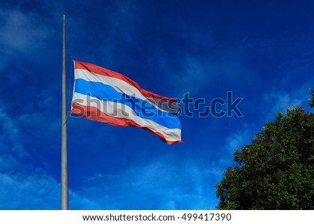 Chiangmai, Thailand. October 15, 2016 : Thailand to fly flags half-mast for one month following the death of King Bhumibol Adulyadej.
