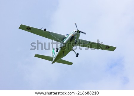 CHIANGMAI , THAILAND - SEPTEMBER 8 2014: Cessna 208 Caravan no.1915 of KASET, Bureau of Royal Rainmaking and Agricultural Aviation. Take off from Chiangmai Airport.