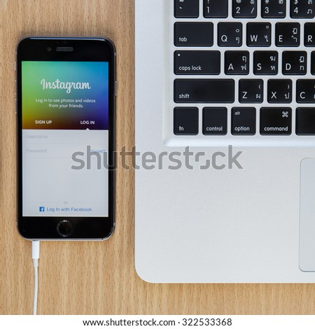 CHIANGMAI,THAILAND - SEPTEMBER 30, 2015:Instagram page on new iphone 5s. The photo-sharing social network, which has 150 million monthly active users - stock photo