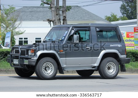 CHIANGMAI, THAILAND -SEPTEMBER  14 2015:   Mitsubishi Pajero Truck. Photo at road no.1001 about 8 km from downtown Chiangmai, thailand.