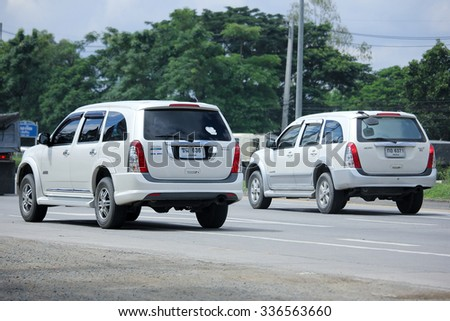 CHIANGMAI, THAILAND -SEPTEMBER  14 2015:   Private car, Isuzu Mu7. Photo at road no 121 about 8 km from downtown Chiangmai, thailand.