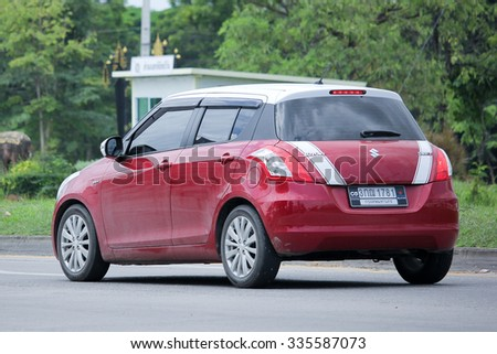 CHIANGMAI, THAILAND -SEPTEMBER  8 2015:   Private car, Suzuki swift. Photo at road no 121 about 8 km from downtown Chiangmai, thailand.