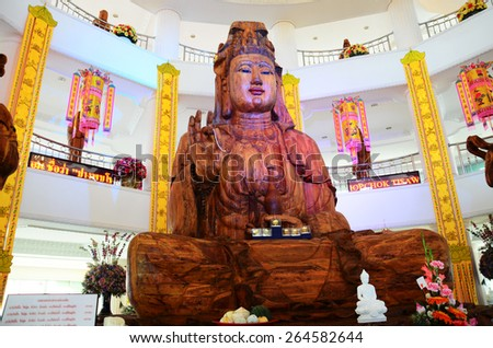 CHIANGRAI, THAILAND - FEBRUARY 23 : wathyuaplakang A place where people worship. And respectable of Buddhist faith on February 23, 2015 in Chiangrai, Thailand. - stock photo