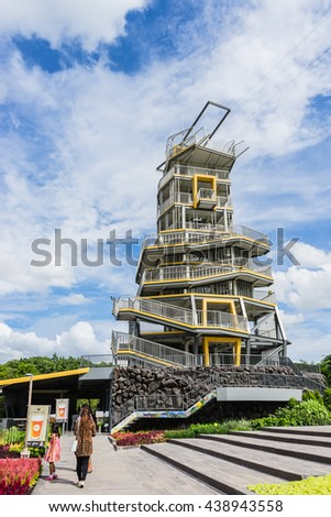 CHIANGRAI, THAILAND JUNE 19: Unidentified Thai people come to travel Jumping tower in Singha-park on June 19, 2016 in Chiangrai, Thailand.