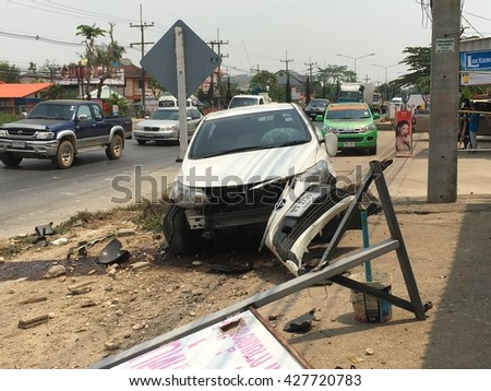 CHIANGRAI, THAILAND - MAY 13th, 2016: White Toyota Vios car wreckage due to bad car accident