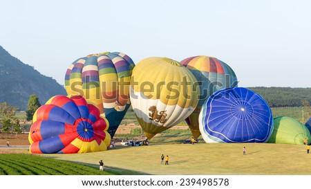 CHIANGRAI, THAILAND - NOV 26 2014: Farm festival at Singha park, Hot air balloon farm tour - stock photo