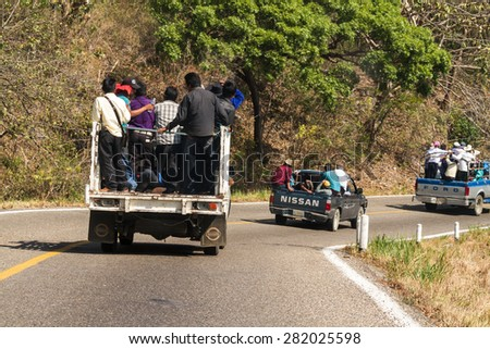 Chiapas, Mexico: 24 March, 2015. Popular people transportation in Chiapas, Mexico. - stock photo