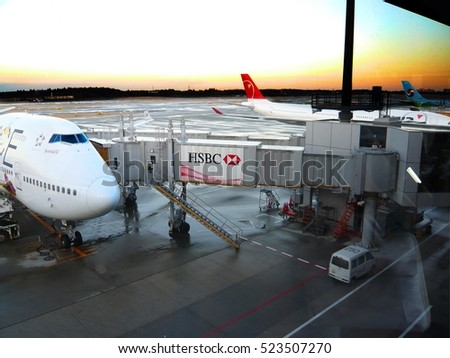 CHIBA, JAPAN - March 08, 2010: Airplane near the terminal in an airport at the sunset, Narita international airport.