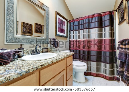 Chic Bathroom Design Features Vanity Cabinet With Granite Counter And  Bright Colorful Shower Curtain. Northwest