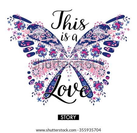 chic butterfly graphic for t-shirt - stock photo