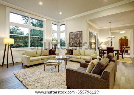 Chic Light Living Room Design With Dark Floors. Furnished With Glass Top  Accent Tables And Part 66