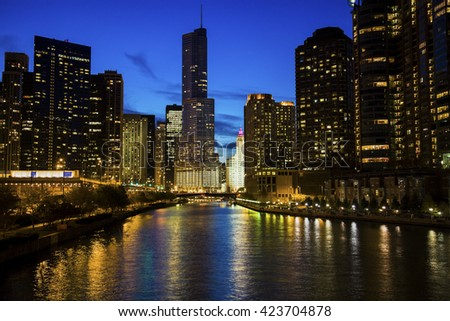 Chicago along the river at night. Chicago, Illinois, USA, - stock photo