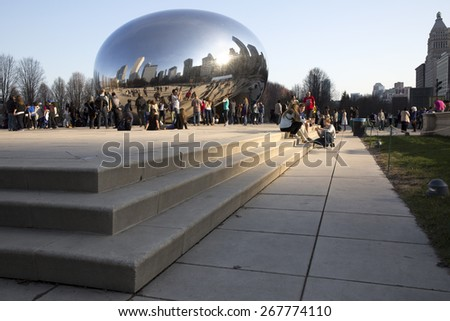 CHICAGO - APR 5. Millennium Park, Chicago on April 5th 2015. Cloud Gate, also known as the Bean is in Millennium Park, the Loop, Chicago. Admission is free. - stock photo