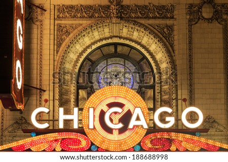 CHICAGO - APRIL 4 : The famous Chicago Theater on State Street on April 4, 2014 in Chicago, Illinois, The iconic marquee often appears in films and television - stock photo