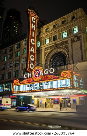 CHICAGO - April 8: The famous Chicago Theater on State Street onApril 8, 2015 in Chicago, Illinois. Opened in 1921, the theater was renovated in the 1980's at a cost of $4.3 million.