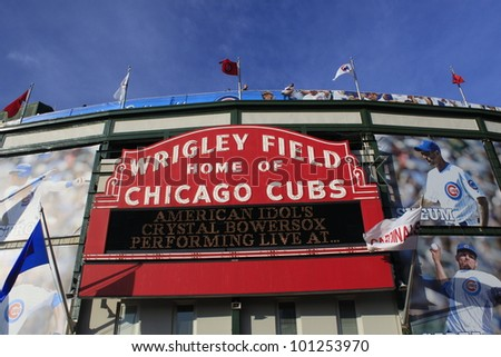 CHICAGO - APRIL 25: Wrigley Field is the oldest National League ballpark and the only remaining Federal League park. Wrigley Field exterior on April 25, 2012 in Chicago, Illinois. - stock photo