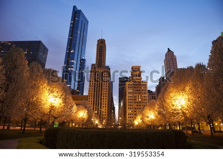 Chicago architecture seen from Millennium Park. Chicago, Illinois, USA. - stock photo