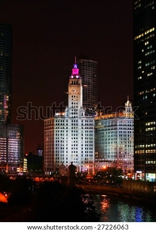Chicago at  night - stock photo