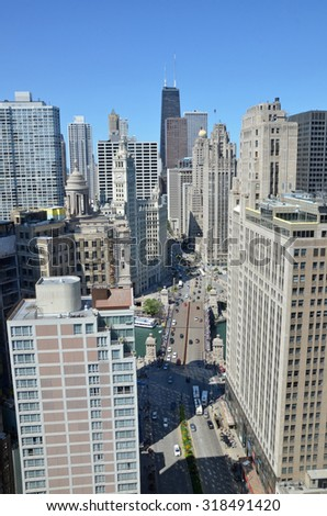 Chicago - August 12: aerial view of Michigan Avenue Bridge and the skyline in Chicago, USA, on August 12, 2015. The bridge links the Magnificent Mile with the southern Loop District.  - stock photo